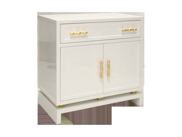 Two Door One Drawer White Lacquer Cabinet Worlds Away