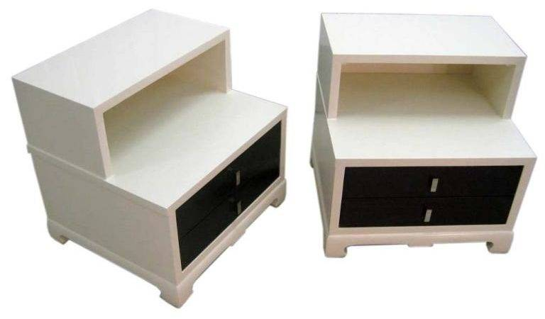 Two Tone Pair Low Bedside Tables After James Mont