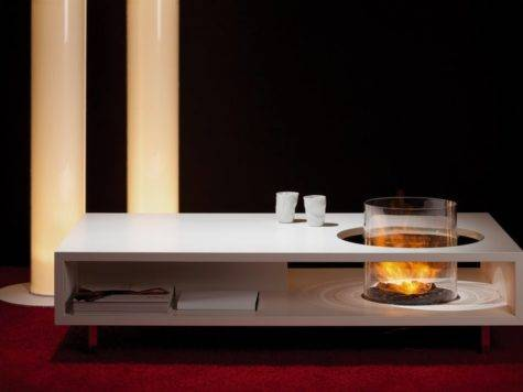 Unique Coffe Table Combined Modern Round Fireplace
