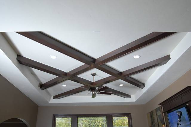 Unique Coffered Ceiling Contemporary Living Room