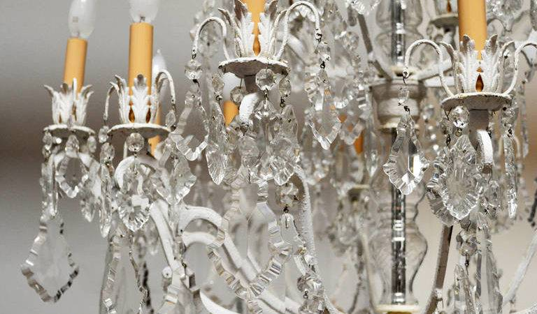 Unique Crystal Chandelier White Painted Frame