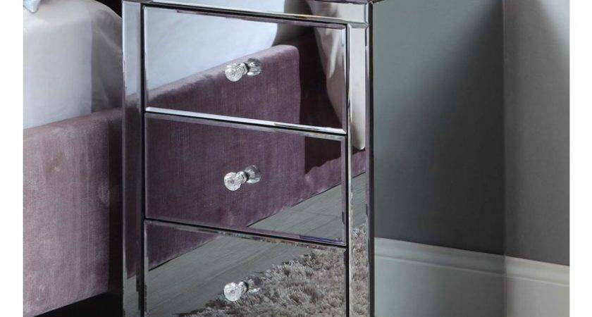 Vegas Smoke Mirrored Bedside Table Chest Mirror Furniture