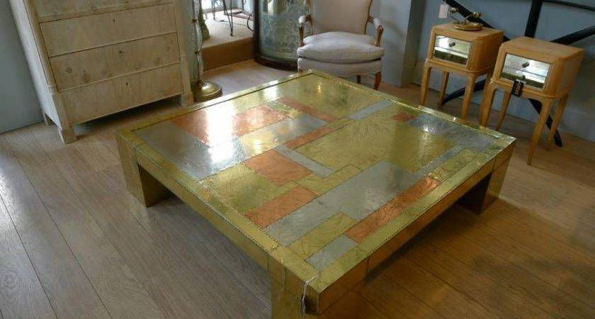 Very Large Brass Copper Coffee Table Dubarry