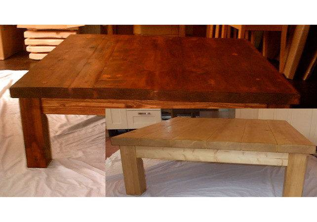 Very Large Chunky Rustic Square Coffee Table Folksy