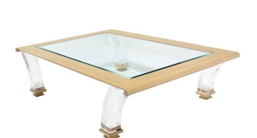 Very Large Coffee Table Glass Top Lucite Legs
