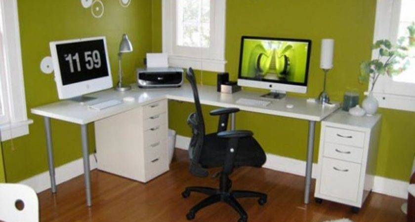 Very Small Office Room Decor White Mixed Black Wall