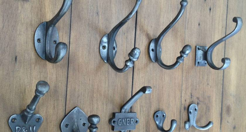 Vintage Antique Cast Iron Hat Coat Hooks Hanging Shabby