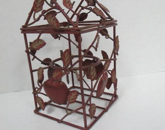 Vintage Apple Leaves Hanging Wire Display Candle