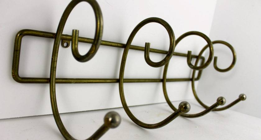 Vintage Coat Rack Hook Curved Brass Colored Mid Century