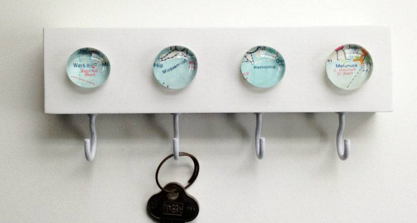 Vintage Map New Key Hook Rack Holder Wall