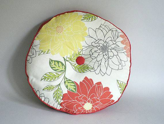 Vintage Round Floral Decorative Pillow