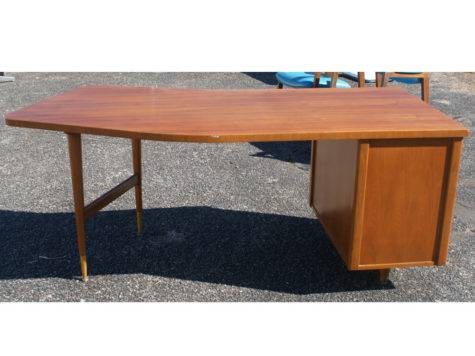 Vintage Wood Single Pedestal Curved Desk