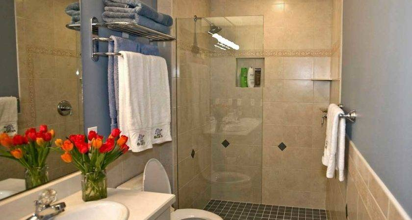 Walk Shower Ideas Small Bathrooms Black Tile