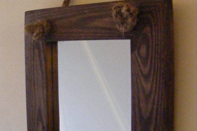 Wall Hanging Small Rope Mirror Rustic Solid Wood Square