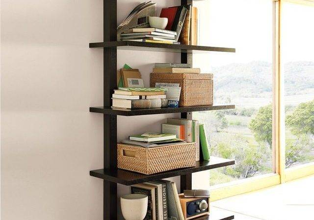 Wall Mounted Bookcase Tall Modern Display