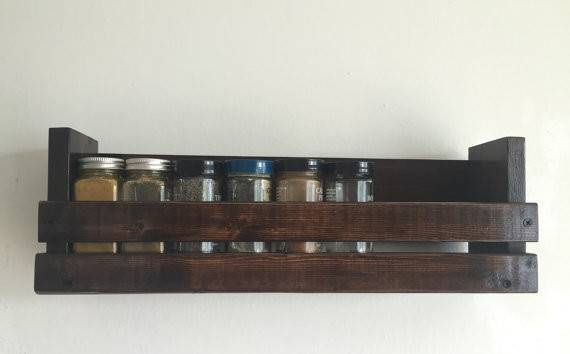 Wall Mounted Wood Spice Rack Blackironworks Etsy