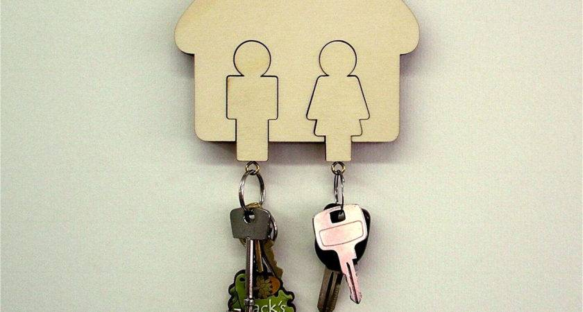 Wall Mounted Wooden Key Holder Man Women His Hers