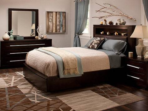 Wall Street King Bonded Leather Platform Bedroom Set
