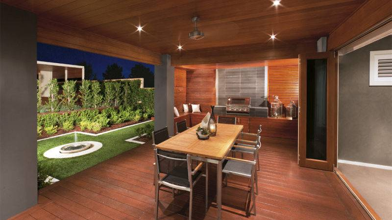 Walled Outdoor Living Design Bbq Area Fountain