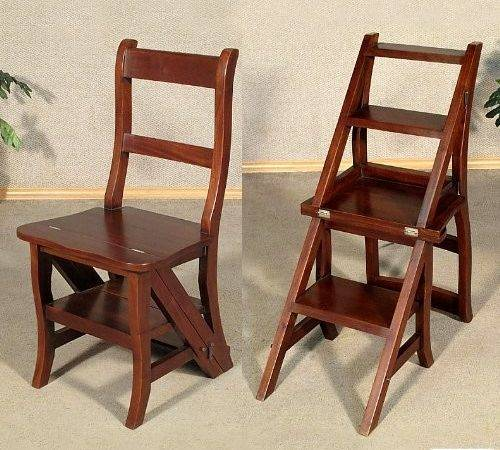 Walnut Convertible Ladder Chair Library Step Stool