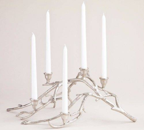 West Elm Silver Twigs Taper Candle Centerpiece Look Less