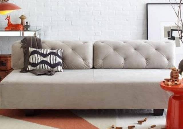 West Elm Tillary Tufted Sofa Bed Couch Grey Sale