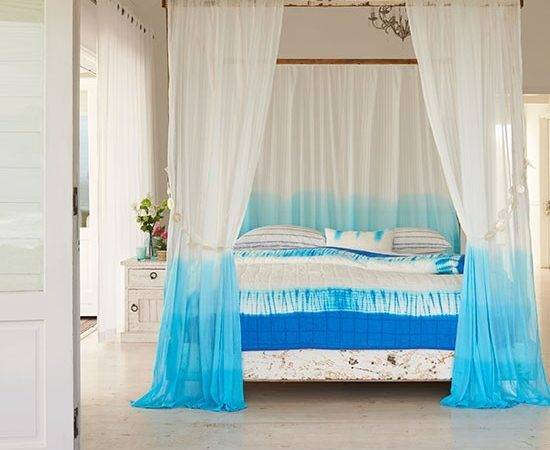 White Bedroom Four Poster Bed Blue Tie Dye