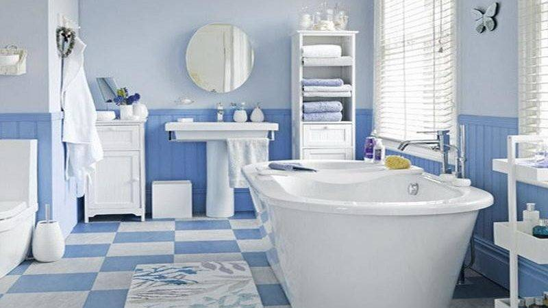 White Blue Bathroom Floor Covering Ideas Your Dream Home