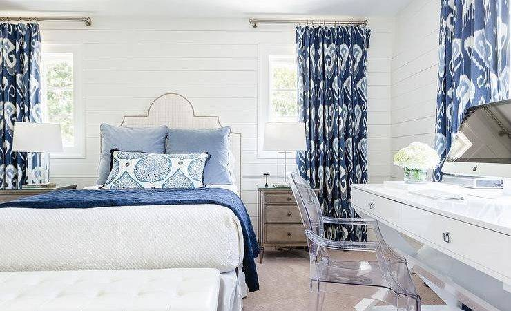 White Blue Bedroom Ikat Curtains Transitional