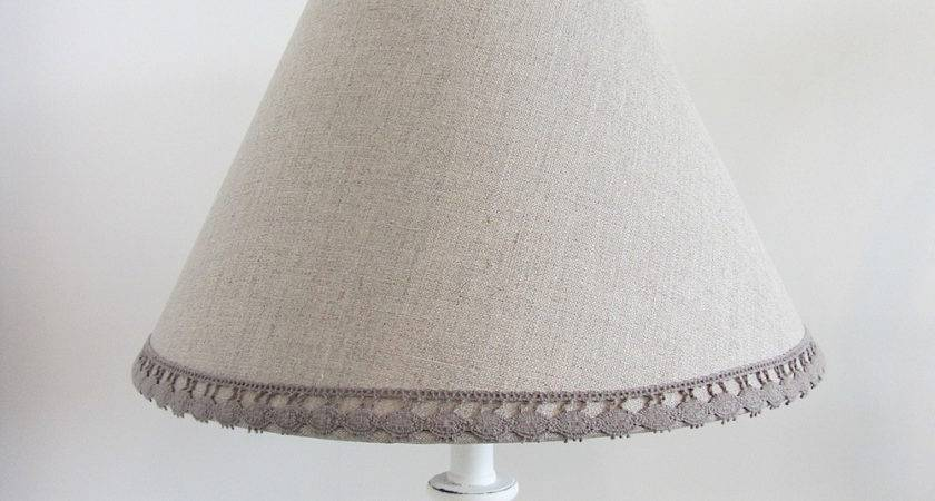 White Candlestick Lamp Pretty Natural Linen Shade
