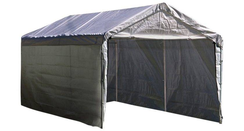 White Canopy Enclosure Kit Outdoor Car Shelter Cover Tent