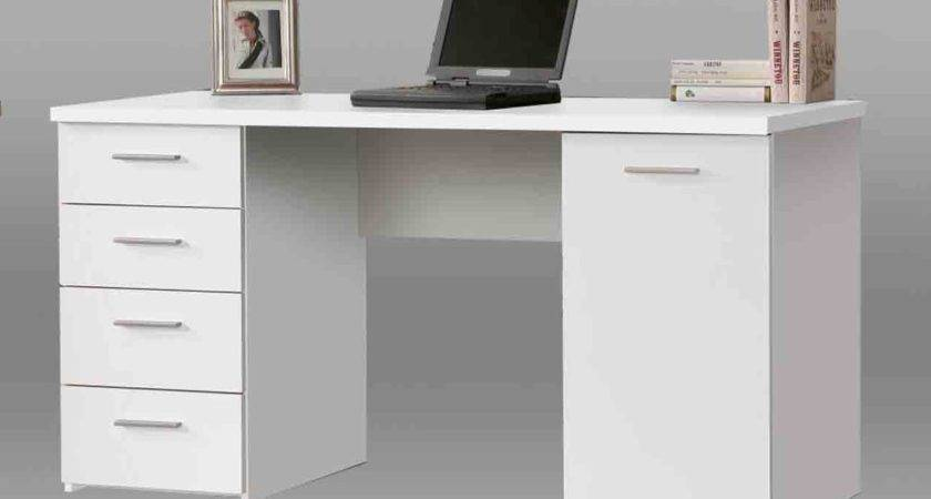 White Desk Home Office Monarch Hollow Shaped