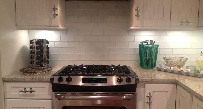 White Glass Subway Tile Backsplash Home Decor