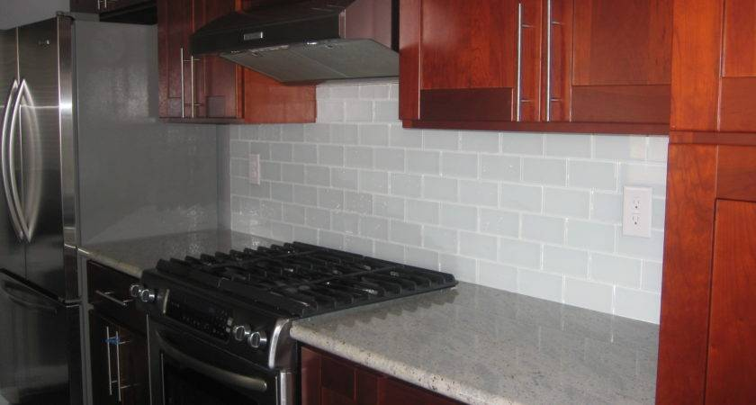 White Glass Subway Tile Backsplash Modern Home Exteriors