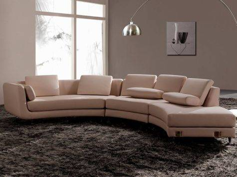 White Italian Leather Round Sectional Sofa Sectionals