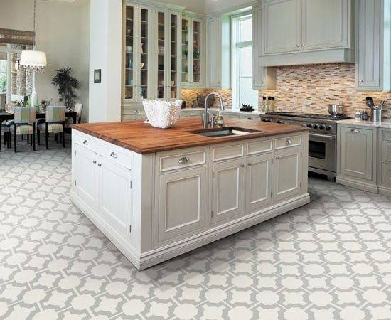 White Kitchen Patterned Flooring
