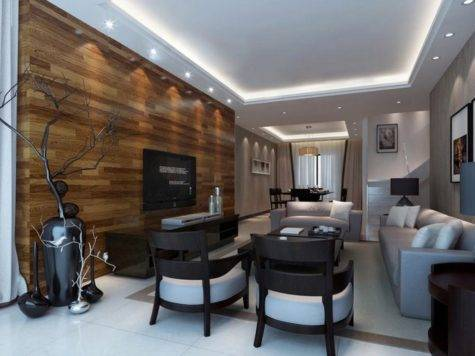 White Living Room Wood Wall House