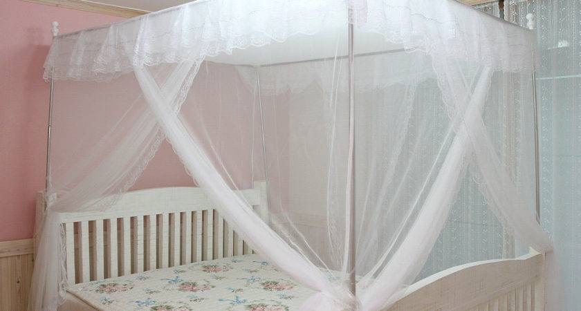 White Luxury Post Lace Bed Canopy Frame Set Mosquito