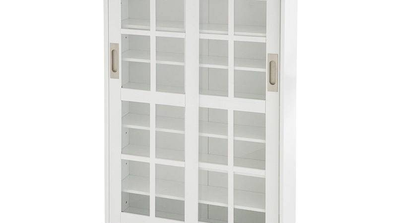 White Media Storage Dvd Bookcase Cabinet Tempered Glass
