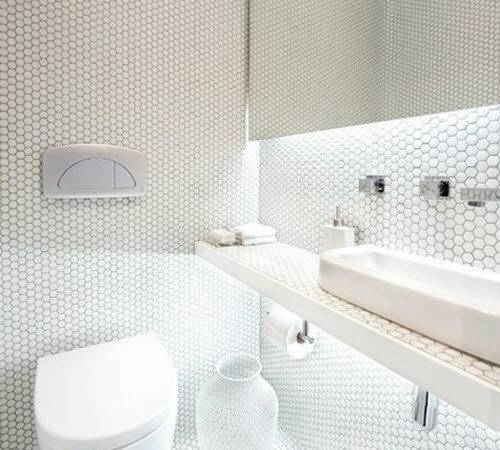 White Mosaic Bathroom Floor Tile Ideas