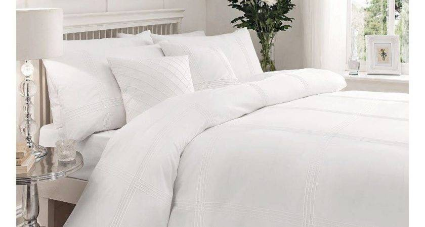 White Pintuck Stripe Duvet Cover Modern Soft Percale