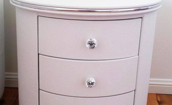 White Round Draws Bedside Table Diamond Buttons