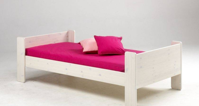 White Stained Wooden Kids Single Bed Frame Pink