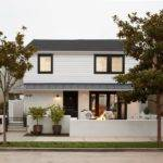 White Stucco House Exterior Transitional Tree Modern