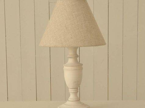 White Wooden Bedside Table Lamps Pair Linen Shade