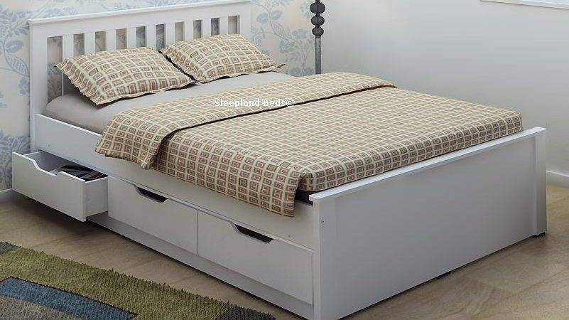 White Wooden Storage Bed Frame Drawers Double
