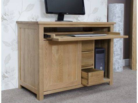 Windsor Solid Oak Furniture Hidden Home Office Computer