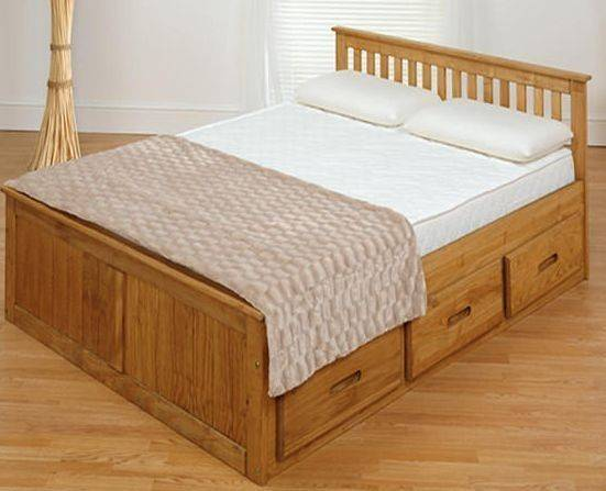 Wood Bed Drawers Double Wooden Storage