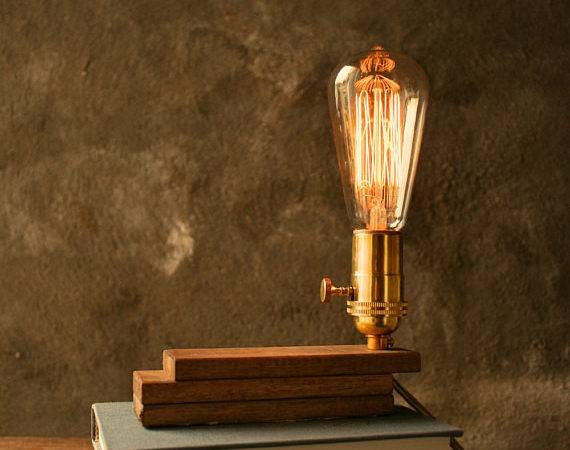 Wood Lamp Diy Book Industrial Light Shabby Chic Cool