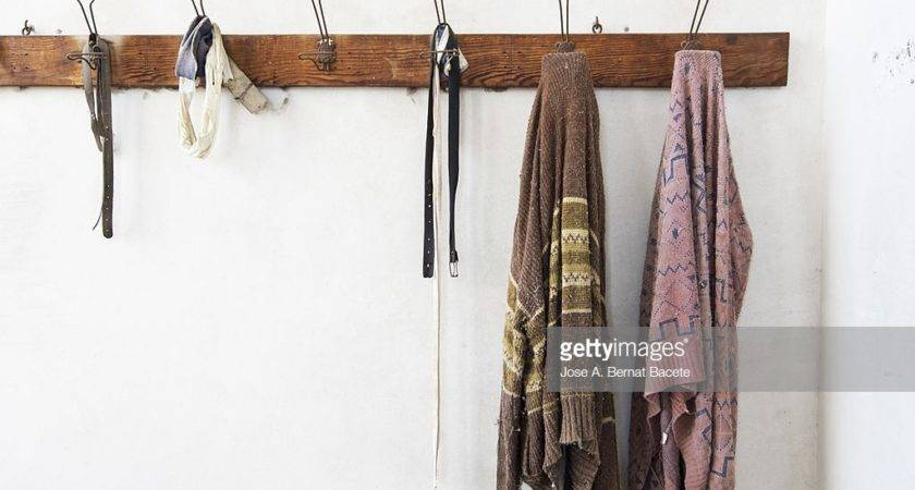 Wooden Coat Rack Wall Hanging Old Clothes